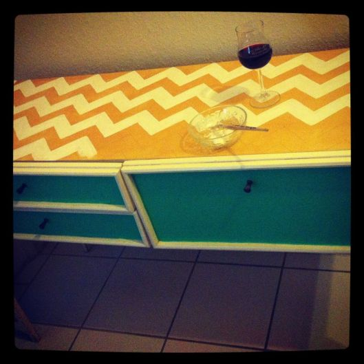 Chevron painted cabinet